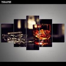 Op de muur HD print olieverf modulaire foto Wine Glass poster kind room decor woondecoratie 5 stks canvas art z068