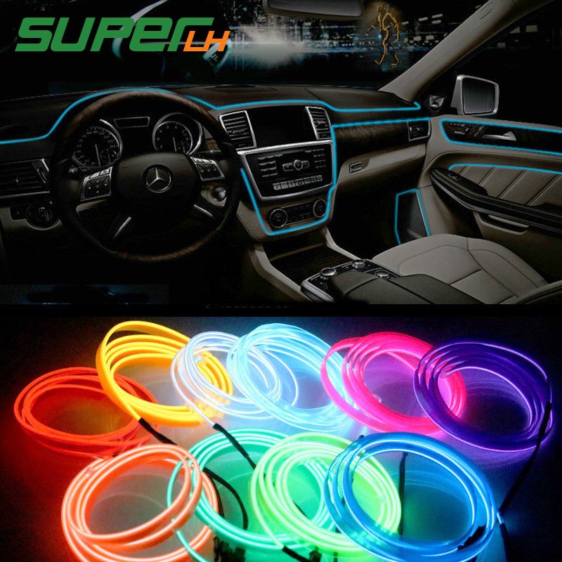 1M/2M/3M/5M Car Interior Lighting Auto LED Strip Garland EL Wire Rope Tube Line Flexible Neon Light With 12V USB Cigarette Drive