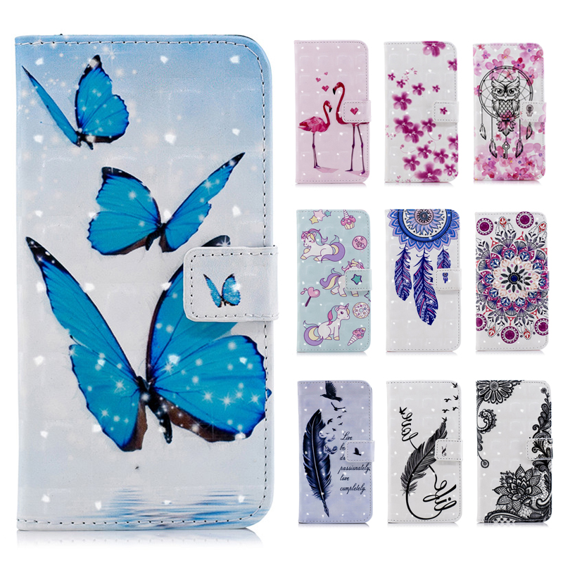 3d Painting Butterfly Flip Pu Leather Case For Samsung A6 Plus Unicorn Flamingo Silicone Wallet Cover For Galaxy A6 2018 A8 2018