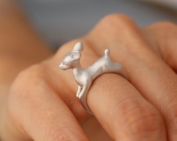 Adjustable Bambi Deer Ring Animal Deer Ring in Gold Jewelry Retro Ring Fashion Summer Ring For Women gift