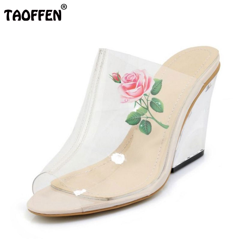 TAOFFEN Rubber Pointed Toe Strange Style High Heels Summer Sandals Lucency Flower Fashion Woman Shoes Size 34-39 new 2017 spring summer women shoes pointed toe high quality brand fashion womens flats ladies plus size 41 sweet flock t179