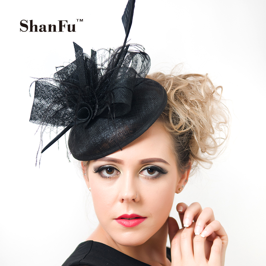 ShanFu Women Purple Cocktail Fascinators Hat Sagittate Feather Wedding Hats with Net Women Hair Acesories SFC12319 women s hats and fascinators vintage sinamay sagittate feather fascinator with headband tocados sombreros bodas free shipping
