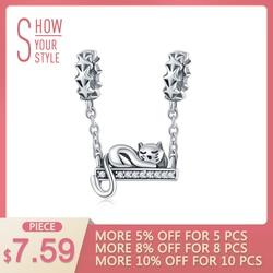 WOSTU Genuine Sterling Silver Cute Cat Lying Swing Clear CZ Charms fit Bracelet Pendant Bead Women Fashion Jewelry Gift CQC856