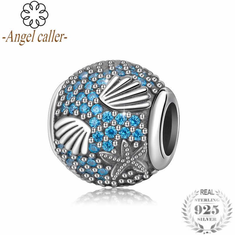 Melek Arayan 100% 925 Ayar Gümüş Mavi CZ Boncuk denizyıldızı kabuk Boncuk DIY orijinal Boncuk Takı Yapımı Için CYZ101