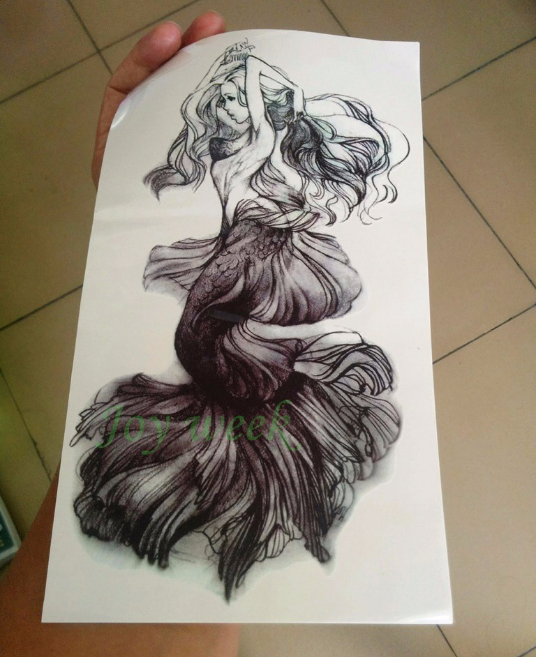 Waterproof Temporary Tattoo Sticker women's full arm large size on back Mermaid tatto stickers flash tatoo fake tattoos for girl 4