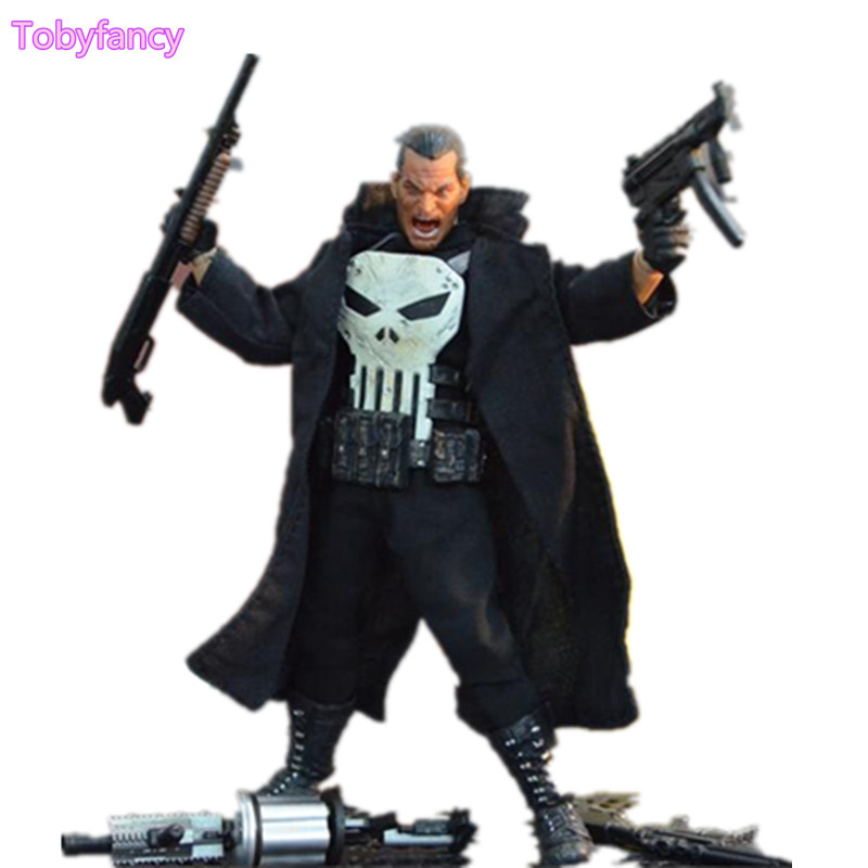 The Punisher 1/12 Scale PVC Action Figure Collectible Model Toy Anime Punisher Superhero Toys Doll Gifts Figurine zxz 23cm anime nisekoi kirisaki chitoge 1 8 cute sexy girl pvc figure toys action figure toys collectible model gifts