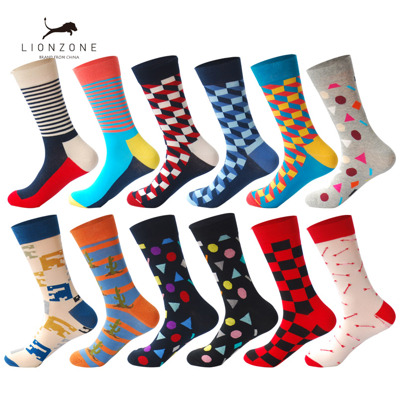 LIONZONE 12Pairs/Lot Mens Colorful Combed Cotton Socks British Style Grid Block Casual Dress Crew Socks Happy Wedding Gift