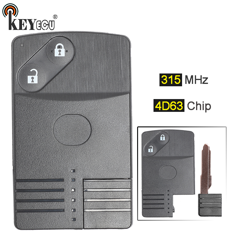 KEYECU 315MHz 4D63 Replacement 2 Button Smart Card Remote Key Fob for Mazda 6 with Uncut Blade image