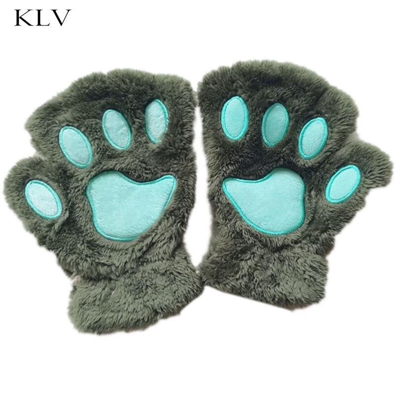 Levendig 1 Stks Vrouwen Winter Leuke Kat Klauw Pluche Mitten Broek Handschoenen Zonder Vinger Korte Handschoenen Half Vinger Online Winkel