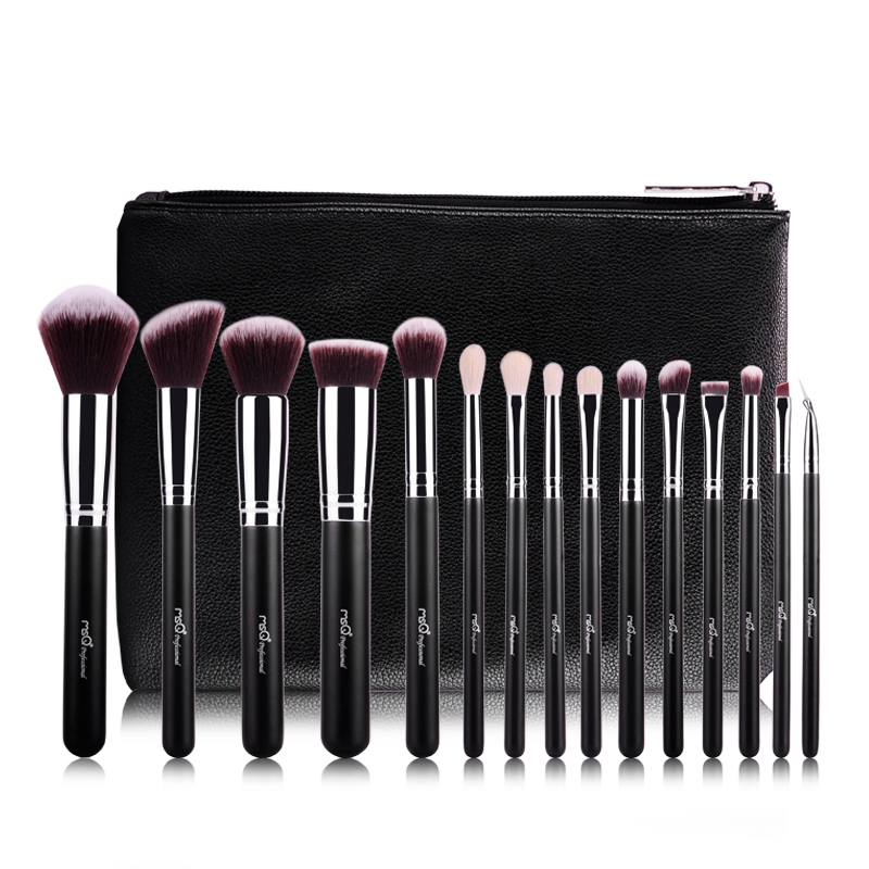 High Quality Professional 15pcs Makeup Brush Set Kit & Tools Soft Synthetic Hair Make Up Brushes Set With Bag best quality fast shipping 15 pcs soft synthetic hair make up tools kit cosmetic beauty makeup brush black set with leather case