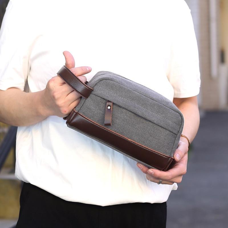 Einfache Hand Tasche Modische Leinwand Kupplung Tragbare Universal Telefon Tasche Boutique Geldbörse Wristlets Solide