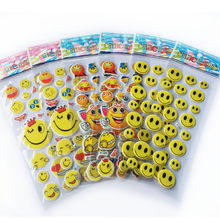 5pcs/lot Fashion Kids Toys Cartoon Emoji Smile face Expression 3D Stickers Children PVC Stickers Bubble Stickers WYQ(China)