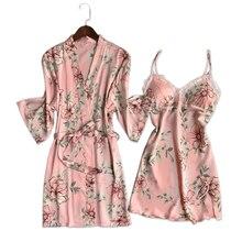 טרי פרחוני הסאטן משי סקסי חלוק שמלת סטי נשים חלוקי רחצה קימונו חלוק תחרה משי פרח הלבשת נשים חלוק חליפות