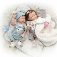49CM full body silicone reborn baby doll twins boy and girl bebes reborn hand pa