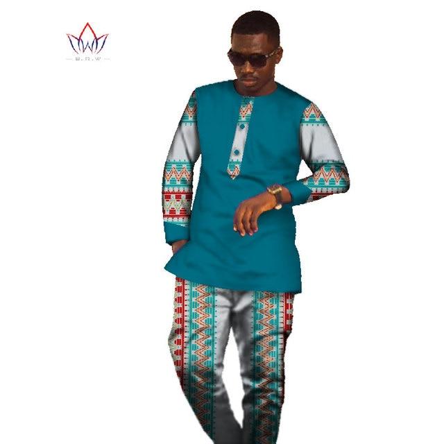 2017 New Sets Brand Clothing Mens Shirt Long Sleeve Dashiki African Print Mens Tops & Long Pants Plus Size Mens Clothes WYN305