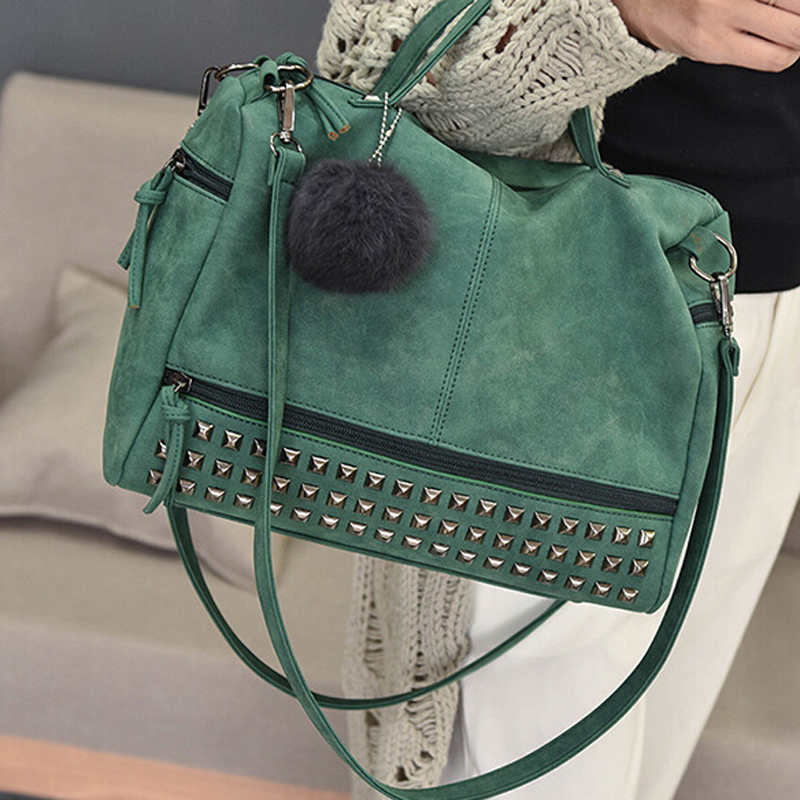 Vintage Nubuck Leather Ladies Handbags Rivet Larger Women Bags Hair Ball Shoulder Bag Motorcycle Messenger Bag Top-Handle Bag