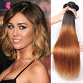 9A Blonde Ombre Remy Hair Bundles Peruvian Virgin Hair Straight 3 Pcs Lot Ombre Peruvian Hair Weave Bundles BUTTERFLY QUEEN Hair