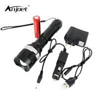 ANJOET camping-reisen Kampf LED taschenlampe set paket XML Q5 3000LM Box Set Zoomable Aluminium 5 Modi Taschenlampe lampe