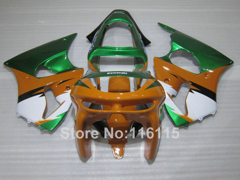 Motorcycle parts for Kawasaki ZX6R 1998 1999 orange green white Ninja 636 ZX 6R 98 99 plastic fairings set PP3