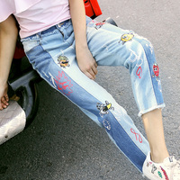 Women's 2018 summer jeans new light coloured fashion crash color splicing nine pants female embroidered Casual street pants