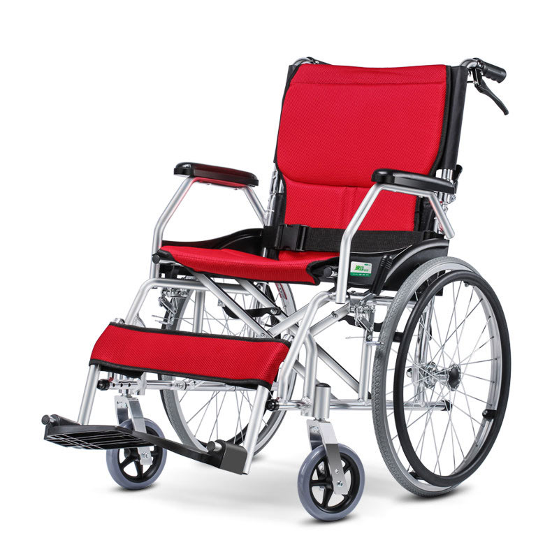 Lowest price Folding back Portable <font><b>Wheelchair</b></font> competetive price and high quality Aluminum manual <font><b>wheelchair</b></font>