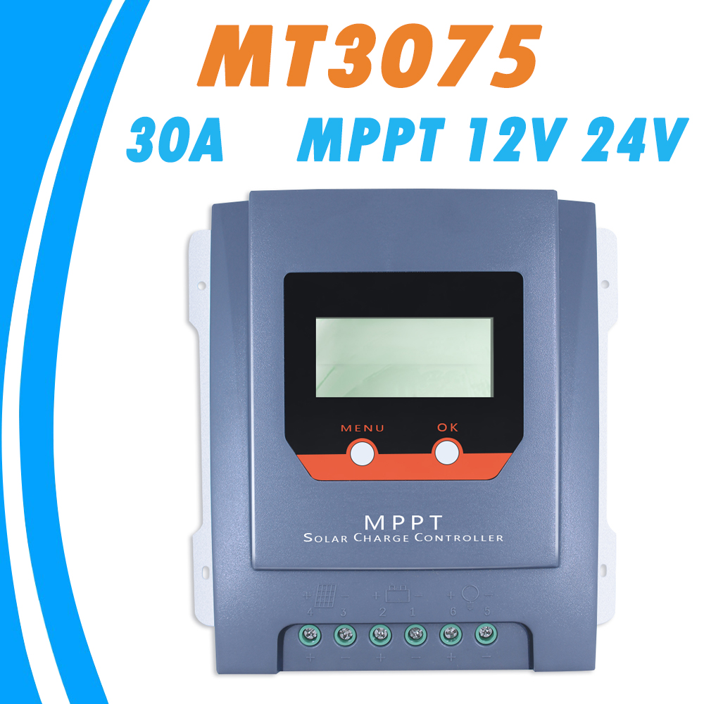 MPPT 30A 12V 24V Solar Charge Controller LCD Display with Real-time Energy Statistics Function for Liquid and GEL Battery NEW 20a 12 24v solar regulator with remote meter for duo battery charging