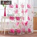 AOSIDI пион отвесные оконные шторы для гостиной современная спальня большой цветочный декор Тюль занавески для кухни вуаль жалюзи