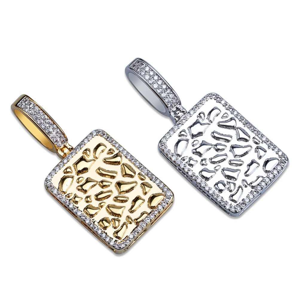 TOPGRILLZ błyszczący kwadratowy naszyjnik złoty kolor srebrny Cubic cyrkon męska Charms Hip Hop biżuteria prezenty z 4mm tenis łańcuch