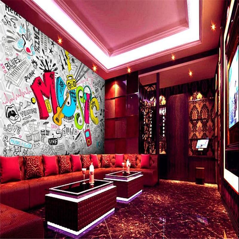 Aliexpress Buy Wallpaper 3D Living Room Retro Wall White Violin Music Disco Nightclub Bar KTV Mural Murals 3d Papers Home Decor From