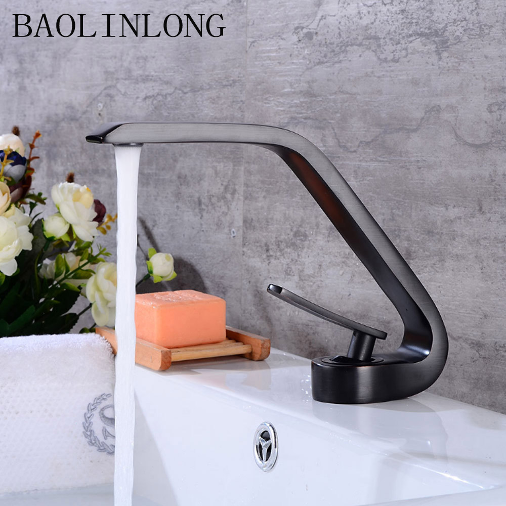 BAOLINLONG Antique Black Brass Bathroom Faucets Deck Mount Sinks Mixer Basin Faucet Bath Tap