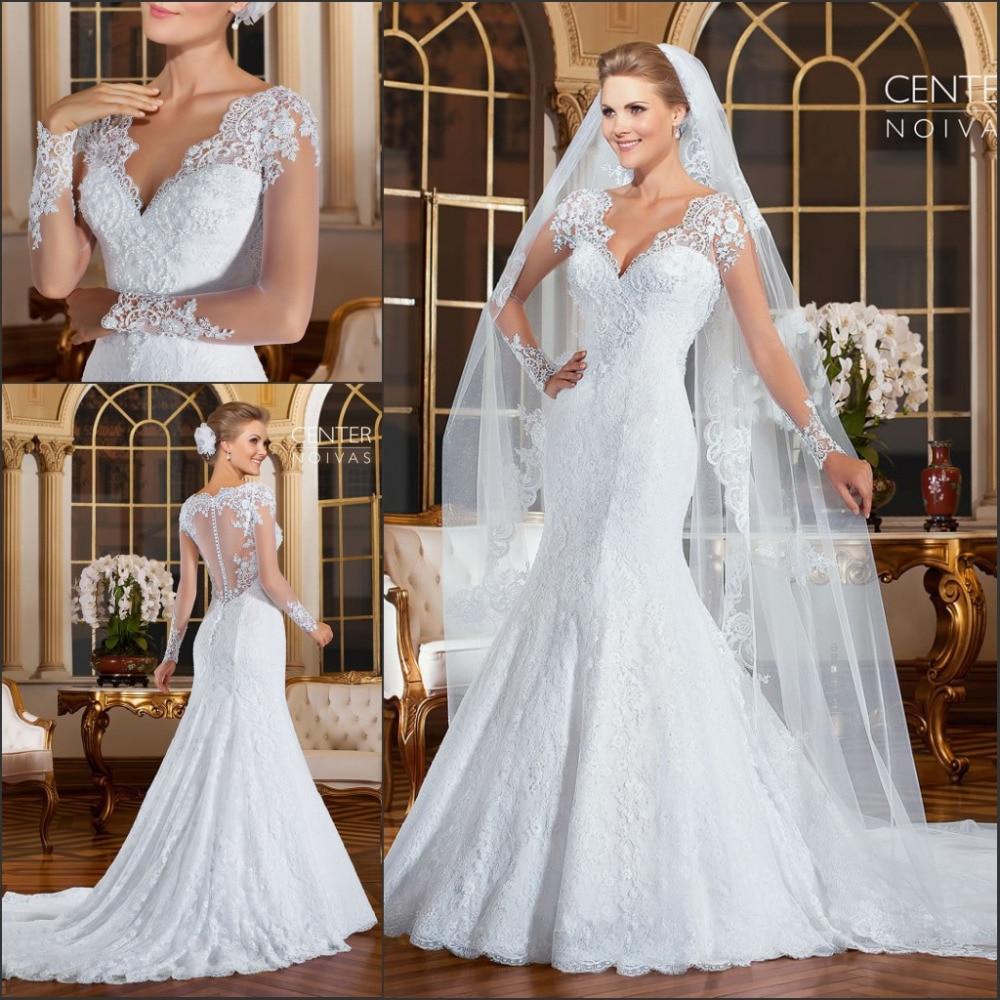 Vestido De Noiva 2018 Romantic Long Sleeves Mermaid Wedding Dresses See Through Back Lace Wedding Dress Robe de mariage
