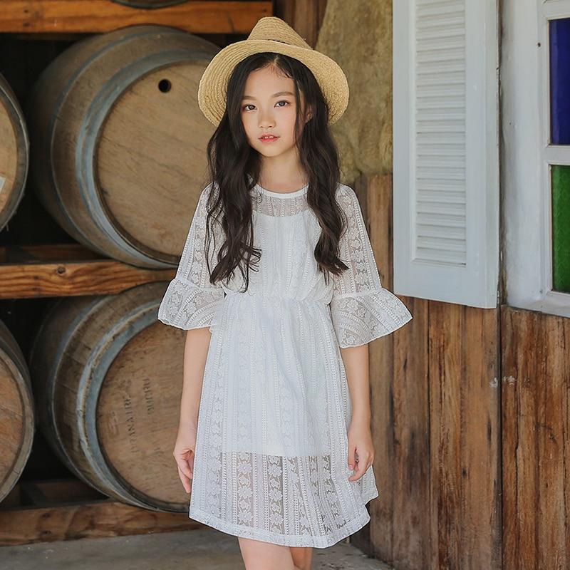 2018 filles dentelle robe noir blanc robes Crochet fleur vêtements pour enfants volants Design âge 5 6 7 8 9 10 11 12 13 14 T ans