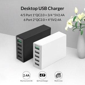 Image 3 - ORICO QC 2.0 Bộ Sạc Với 6 Cổng Sạc USB Thông Minh Để Bàn 5V10A 50W Max Đầu Ra Cho Điện Thoại Di Động điện Thoại Sạc USB