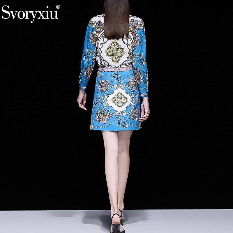 Kadın Giyim'ten Kadın Setleri'de Svoryxiu Tasarımcı Yaz lüks Boncuk Etek Takım Elbise kadın Uzun Kollu Bluz + Mini Etekler Vintage Mavi Baskılı Iki Parçalı seti'da  Grup 3