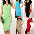 Marca 2017 primavera dress plus size sexy casual v-cuello de bodycon dress colores del caramelo delgado asimétrico dress vestidos de fiesta vestidos