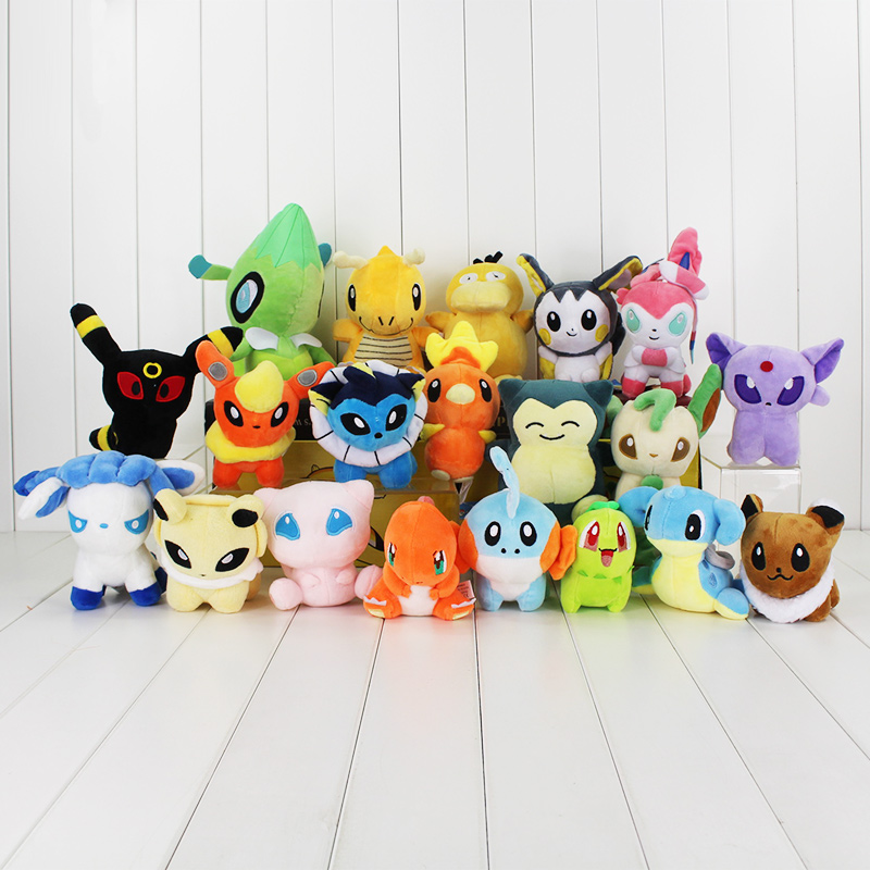 20Pcs Lot Mew Snorlax Dragonite Psyduck Mudkip Charizard Lapras Sylveon Eevee Celebi Plush Dolls Toys Stuffed