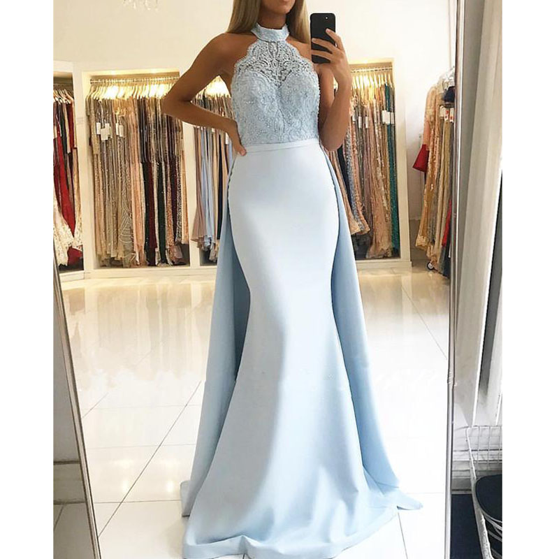 Elegant Satin Mermaid Mother Of The Bride Dresses Plus Size Lace High Neck Detachable Overskirt Long Party Formal Evening Gowns