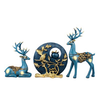 Europe Blue Couples Deer Figurines Ornaments Home Living Room Decoration Creative Love Deer Statues Resin Crafts Wedding Gifts
