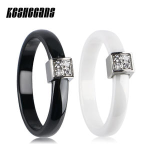 TUHE Women Black Crystal Ring Girls Wedding Engagement