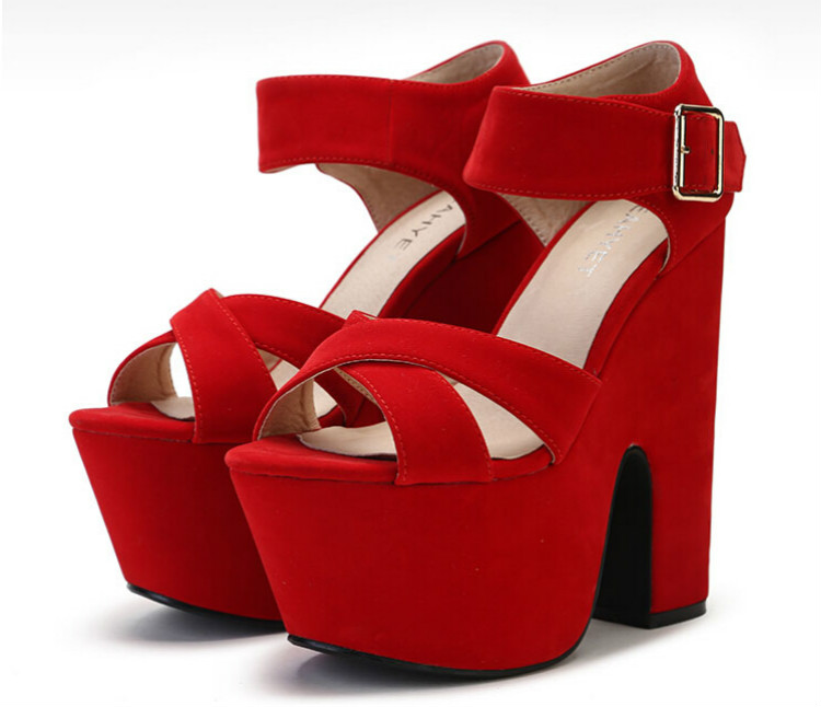 15cm super high heels thick with sandals women Summer wedding shoes comfortable shoes fish head waterproof