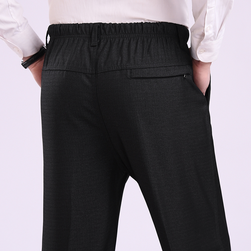 HOT 2019 Outdoor Men's elastic waist trousers grandpa old men thick loose tall waist deep dad fat long pants pants plus size 7XL(China)