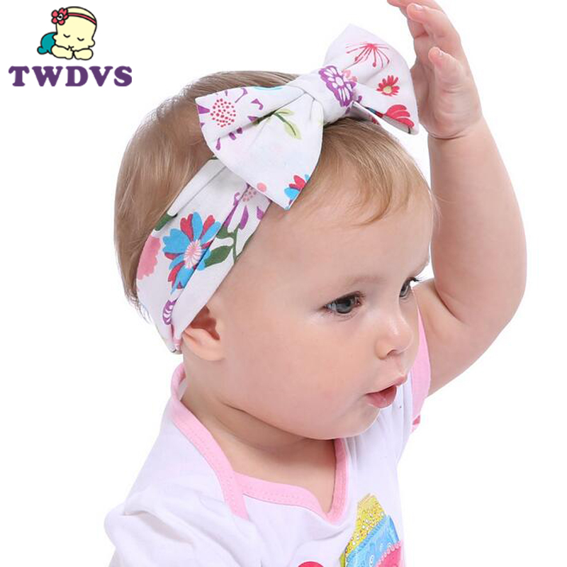 1PC Children Headwear Baby Large Bows Flower Headband Bottom Age Cotton Head Wrap Baby Hair Band Girls Hats Hair Accessories bebe girls flower headband four felt rose flowers head band elastic hairbands rainbow headwear hair accessories