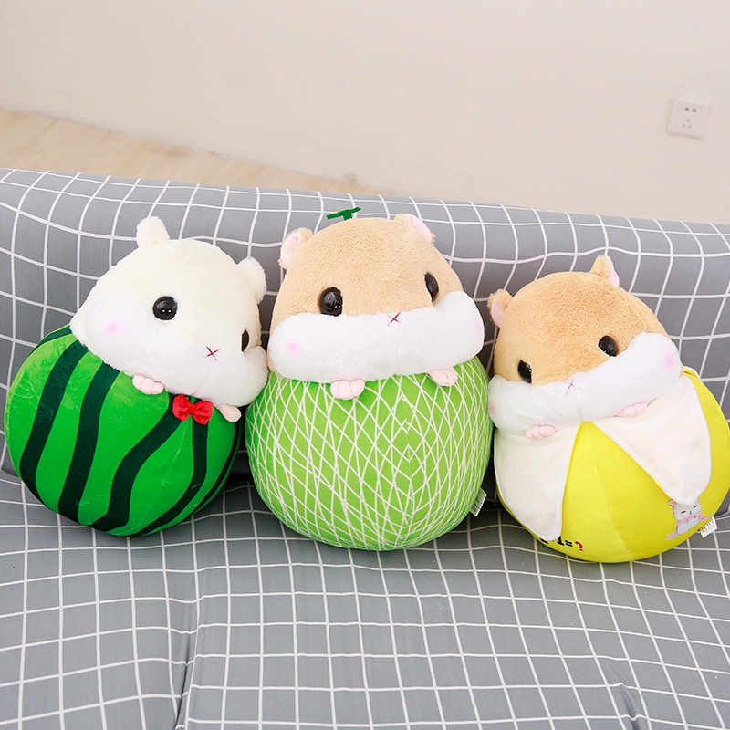 30cm Cute Hamster Plush Toys Staffed Cartoon Animal Doll Kawaii Hamster Turn to Fruits Pillow Creative Kids Children Gift Dolls
