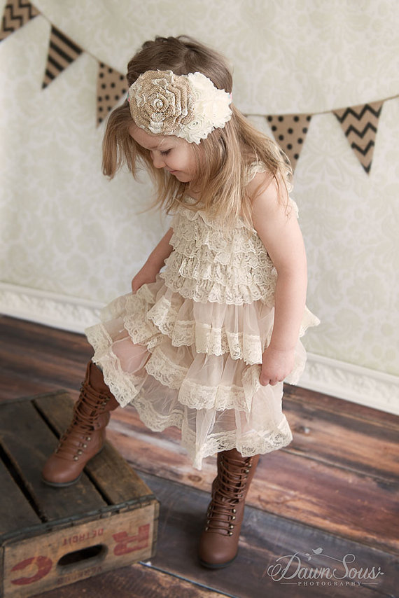 Rustic Flower Girl Dress Champagne Lace Pettidress Country