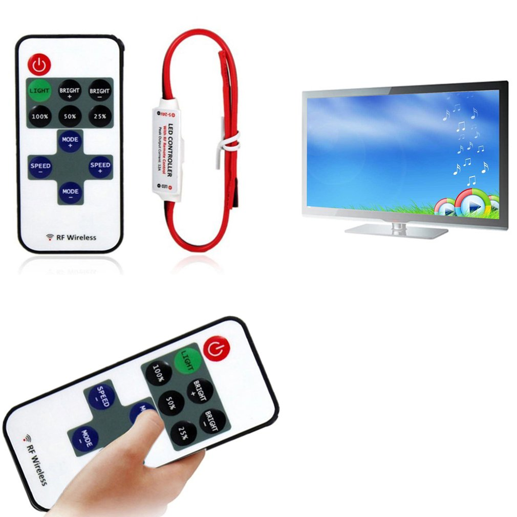 12V Remote Controller Mini RF Wireless Led Dimmer Controller For Single Color Light SMD5050/3528/5730/5630/3014 Remote Control 1 set 12v rf led strip light mini wireless switch controller dimmer with remote control mini in line led light controller dimmer