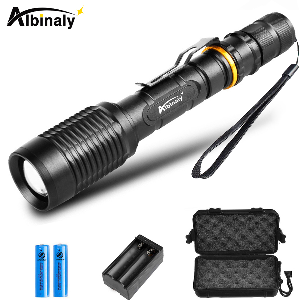 Ultra Bright LED flashlight CREE XML-T6/L2 Led flashlight torch 5 modes 8000 Lumens Zoomable torch +2x18650 battery + charger 1 2 3pack led flashlight wholesale cree xml t6 l2 8000 lumen torch zoomable 5 modes flashlight for 18650 battery or aaa battery