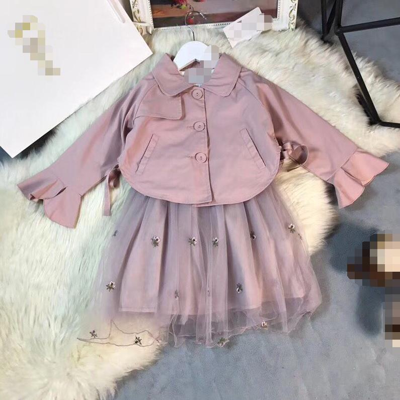 Retail New Arrival Good Quality 2018 Autumn Girls Suits 90-140cm Mesh dress lapel coat Suit 6168A4 lapel surplice button design dress