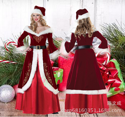 Free Size Christmas Cosplay Dress Little Red Riding Hood Full Sleeve Roupas Long Down Dress Red Draped Women Garment For BI95