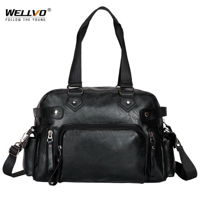Wellvo Men Business Handbag Large Tote Travel Messenger Laptop PU Leather Duffle Bags Men's Crossbody Shoulder Bag For Male XA8C
