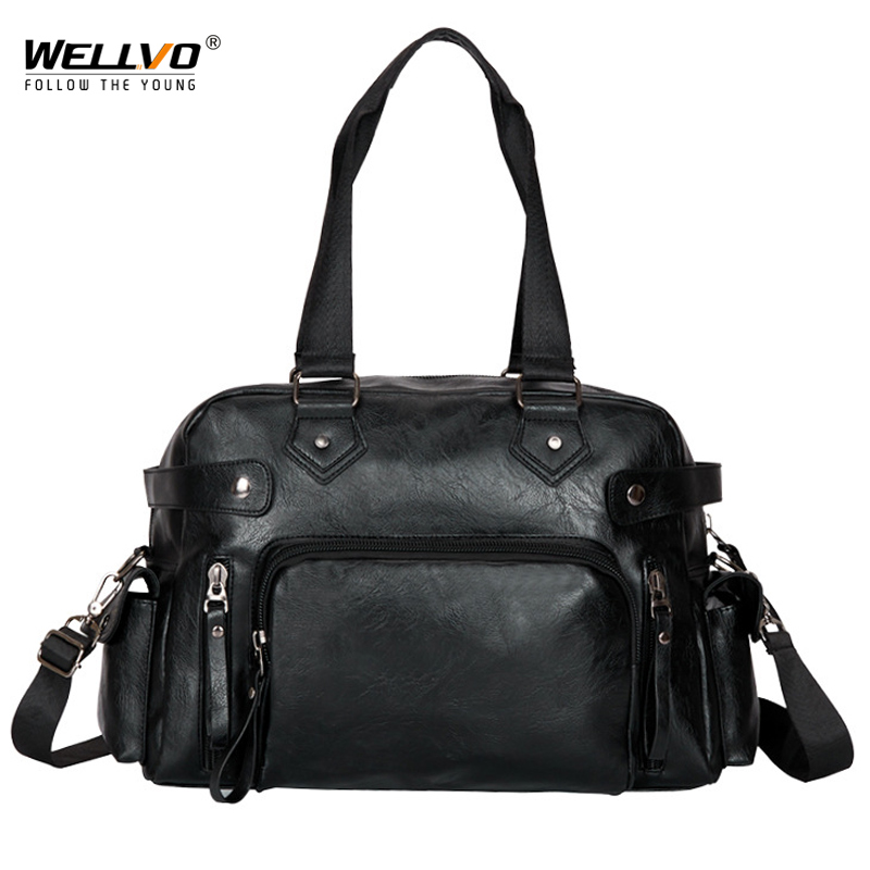 Wellvo Men Business Handbag Large Tote Travel Messenger Laptop PU Leather Duffle Bags Mens Crossbody Shoulder Bag For Male XA8C
